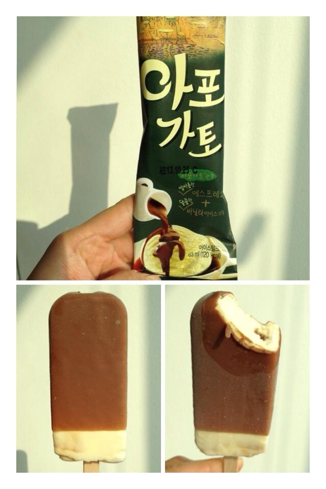 아포가토 (AhPoGaTo) = Affogato Vanilla ice-cream coated in an espresso chocolate casing. Tastes exactly like what it sounds like!