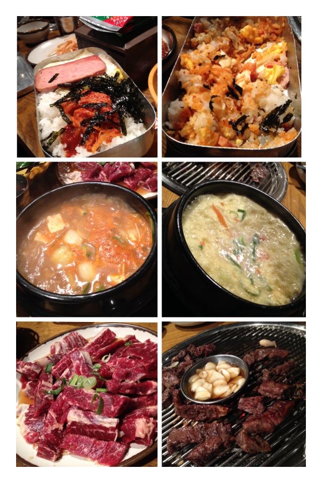 도시락밥 (DoShiRakBab)  됀장찌개 (Dwenjang Jiggae), 계란찜 (GehRan Jjim - Steamed Egg)  야키니쿠 (일본식소갈비 - marinated beef)
