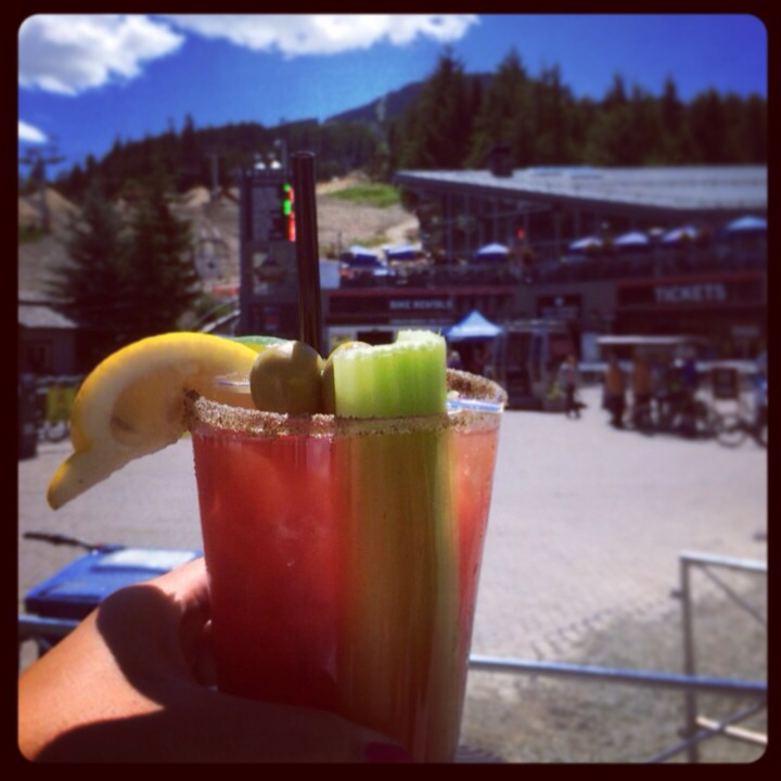 @Longhorn Saloon, Whistler Village, BC, Canada.  Great classic with olives and celery sticks. They are very generous with a cup of extra olives and celery sticks if you ask. It gets a bit salty if you eat the whole cup of olives, but it's worth it. Nothing like enjoying a caesar on a sunny day, at a patio at Whistler Village!