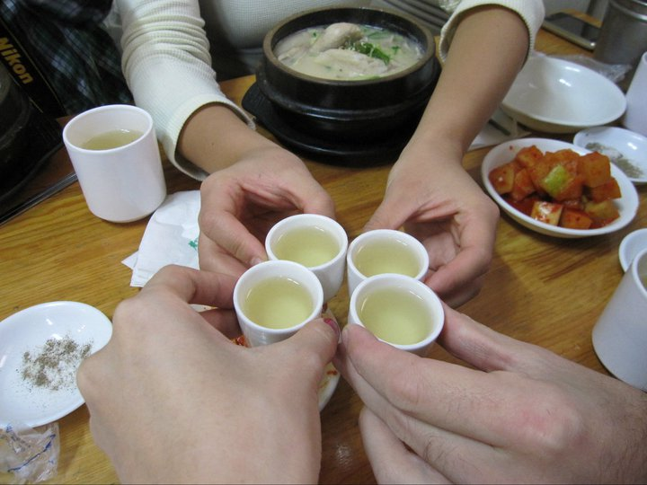 Cheers! They give you a cup of ginseng alcohol here to start. You can either drink it like a shot, or put it inside your soup if you want.