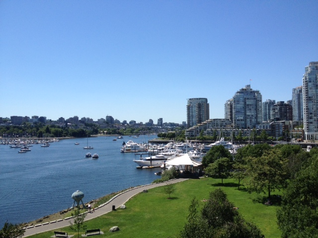 A beautiful sunny afternoon overlooking False Creek.