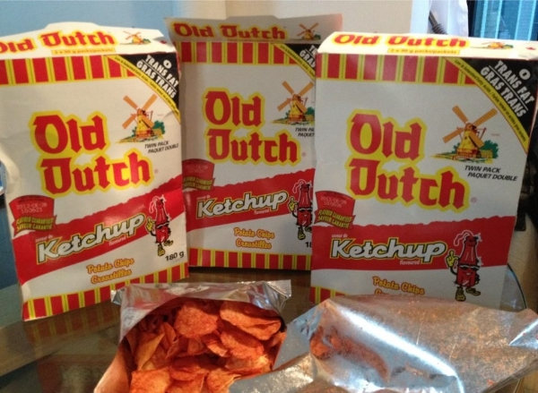 The original boxes of Old Dutch brand chips. Inside each box are two smaller foil bags for your chip eating convenience!  Ketchup is my go-to flavour, but I also like to mix a bag of this and a sour cream and onion together to get a nice tangy and creamy combination!
