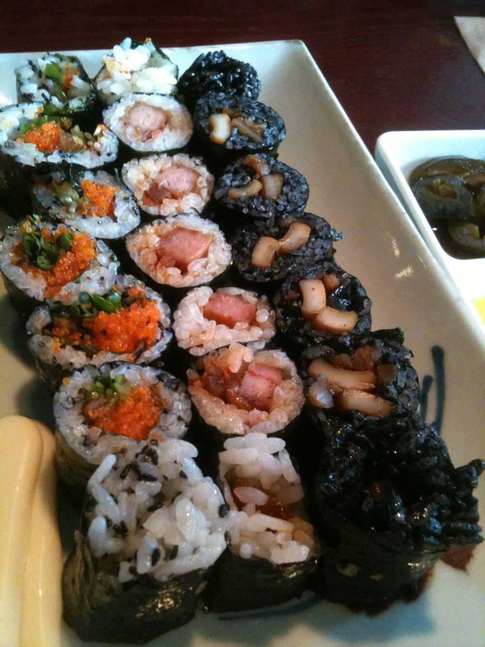 Special Mari II:    I usually order this one which comes with a spam roll, calamri with black squid ink rice and fish roe rolls.