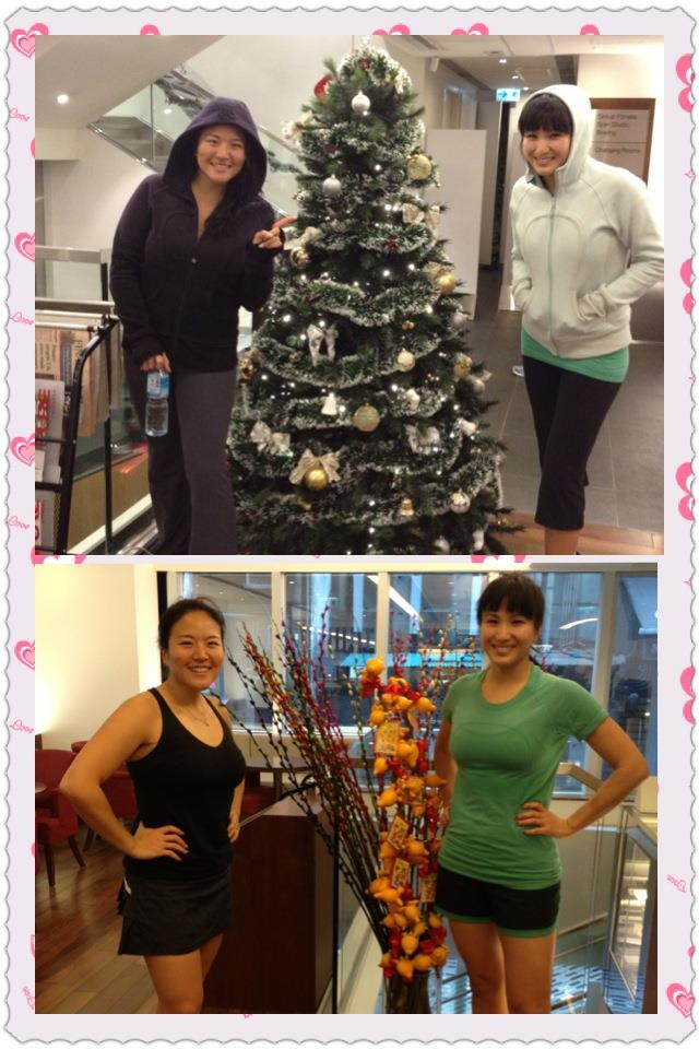 From Christmas trees to Chinese New Year fruit plants....we have finally completed our 60 days of Insanity Challenge! From start to finish - in Lululemon of course!        We both think that if we had done the strict nutritional diet part too, it would've been much more effective - but overall we feel stronger and more toned~    Thanks for being the best workout partner Marsha! *^^*