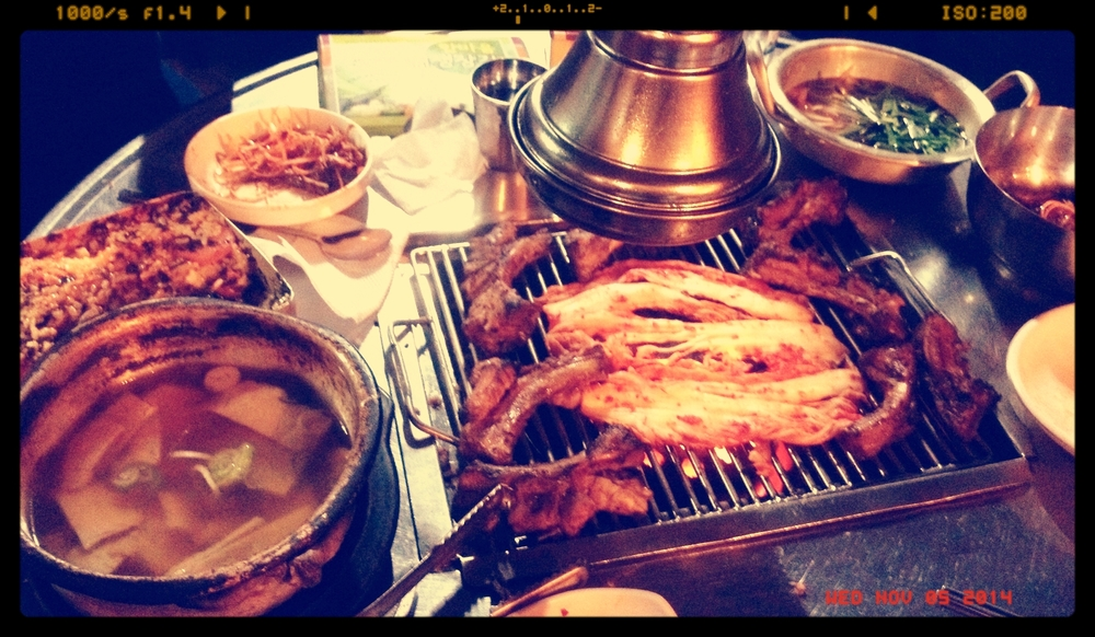 The full spread. Loved the 오뎅탕 (Odeng soup) that also came out for free with our meal. We put some kimchi on the grill too, but it cooked too fast so it ended up being all burnt over the grill. I would say that this kimchi tasted even better not grilled because it was a thinner kind. I usually love cooked kimchi, but I would just enjoy the meat grilled and the sides as they are at this place.