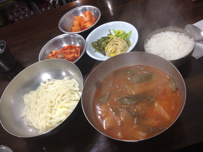 "This is how the "" 2) 육개장 (yook-gae-jang) which is the soup, rice and a smaller bowl of the noodles"" come out! You can add as much or as little noodles and rice to the soup as you want. If you order the first option, you get more noodles and just don't get any rice. The broth and noodles itself are so good - the combination together is amazing!"