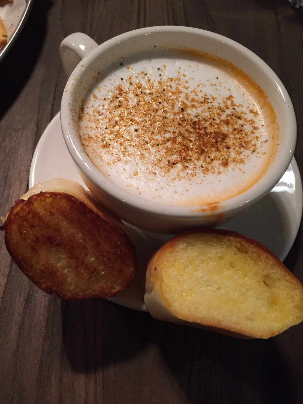 "New item - ""Lobster Cappuccino: lobster bisque, lobster meat served with bread.' 7000won.   Presentation was great and it came out looking exactly like a cappuccino would with two small pieces of buttery toasted soft bread.    The bread was also super soft, nicely toasted and buttered and although I normally don't like to fill up on the bread, this bread was so good it was gone in a second!"