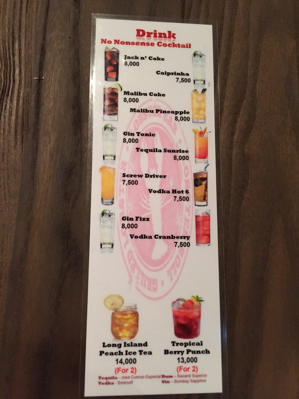 Their updated drink and cocktail menu.