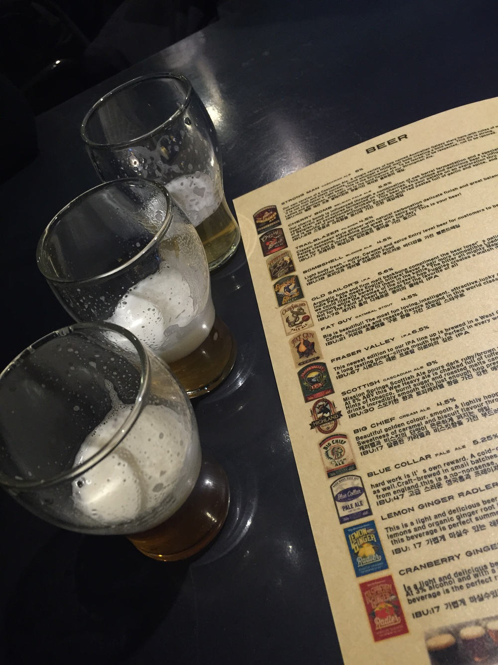 We weren't sure which beer to get, so they were nice enough to bring us out 3 samples to taste. We tried the Trailblazer, Bombshell and Old Sailor's.