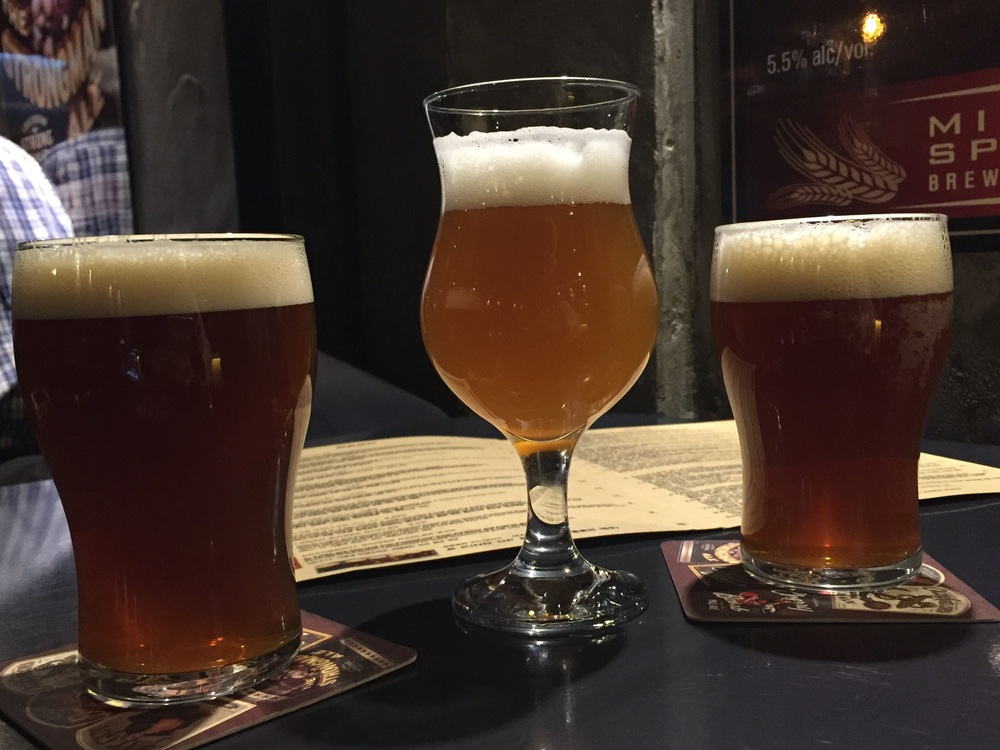 """My two friends went with a different choice and ordered the """"Blue Collar"""" and I went with the """"Bombshell"""". The Blue Collar had a bitter flavour like an IPA to me, and the Bombshell was more of a citrus lighter beer."""