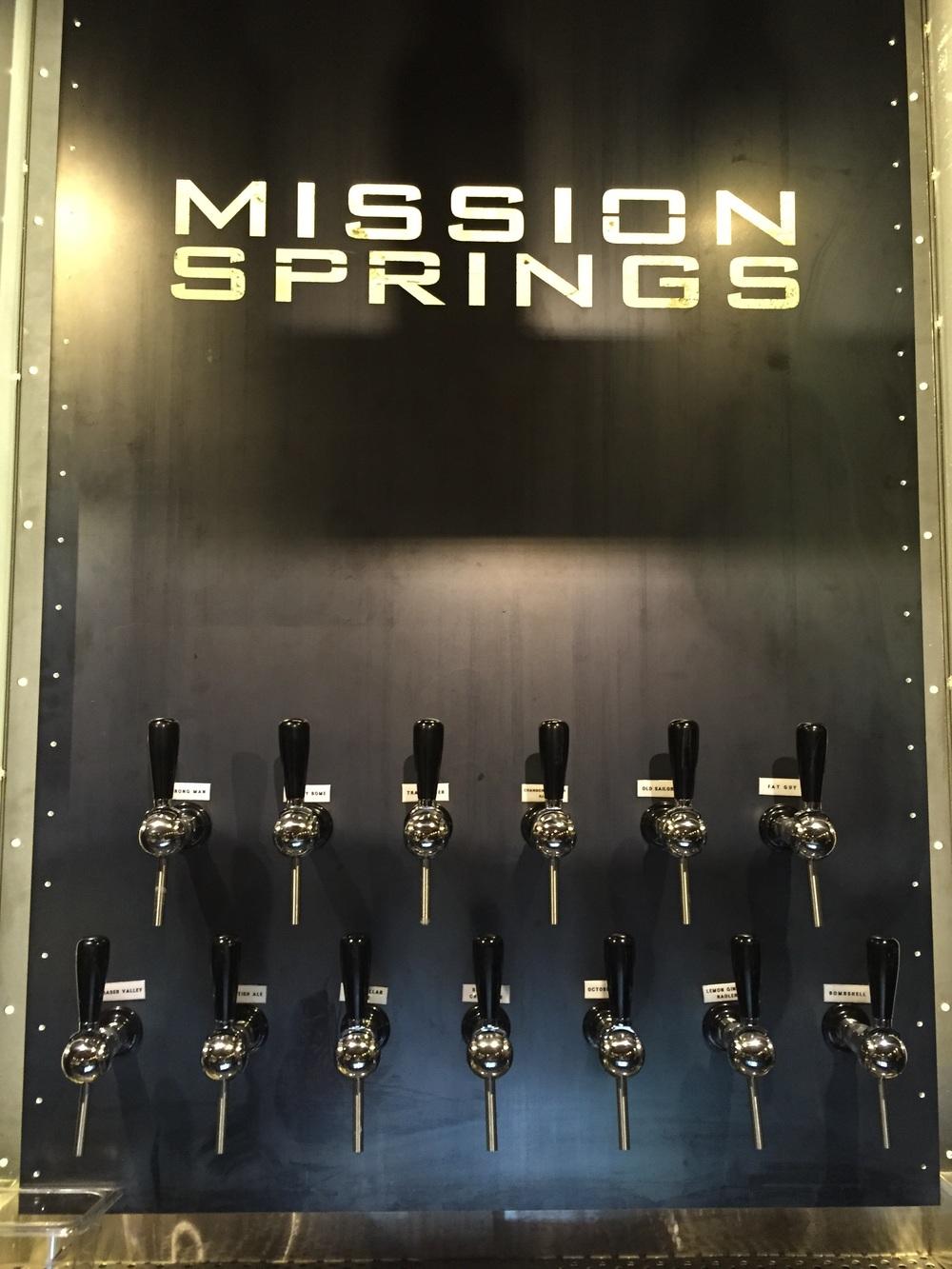 Draft beer taps.