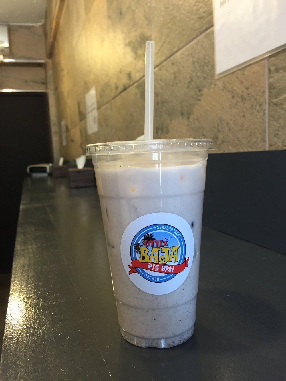Horchata 5000won. The best horchata I've had! I even liked it better than King Taco's in LA!!! It was a bit thicker and had way more flavour and cinnamon. I like strong flavours, so it was awesome for me! Other ones I've had were way too watery or flavourless.