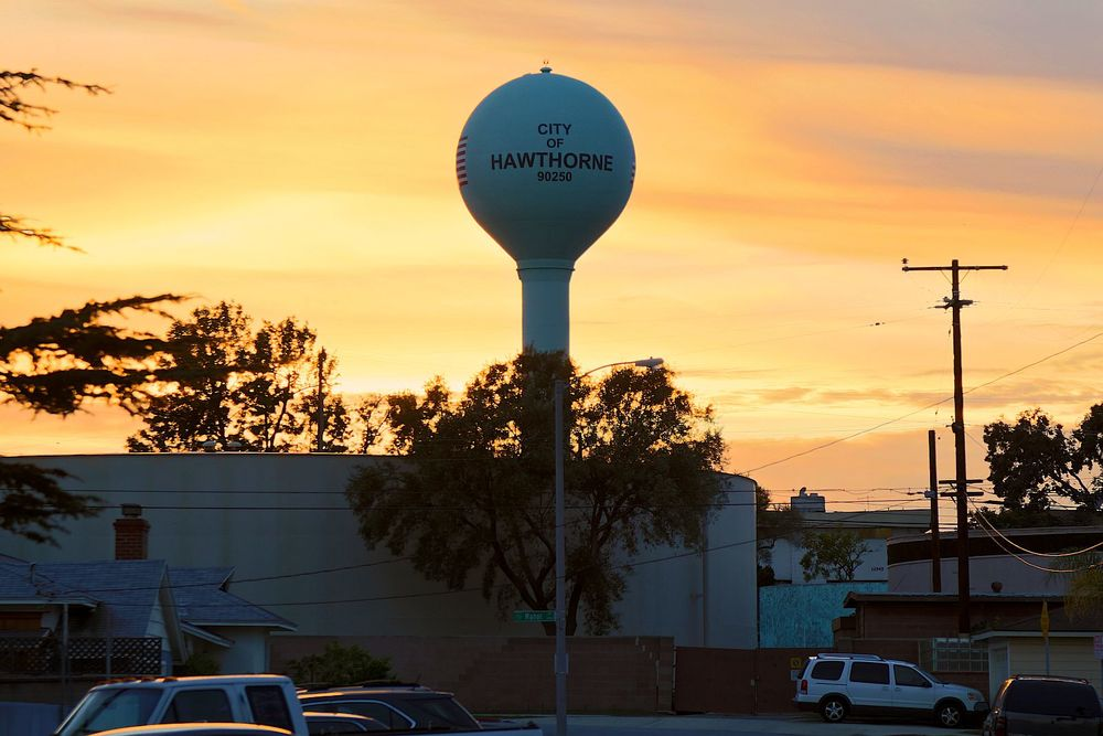 Hawthorne water tower at sunset