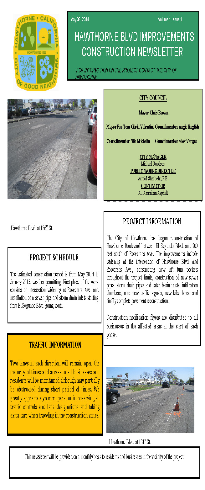 Hawthorne Blvd Improvements Newsletter May 2014