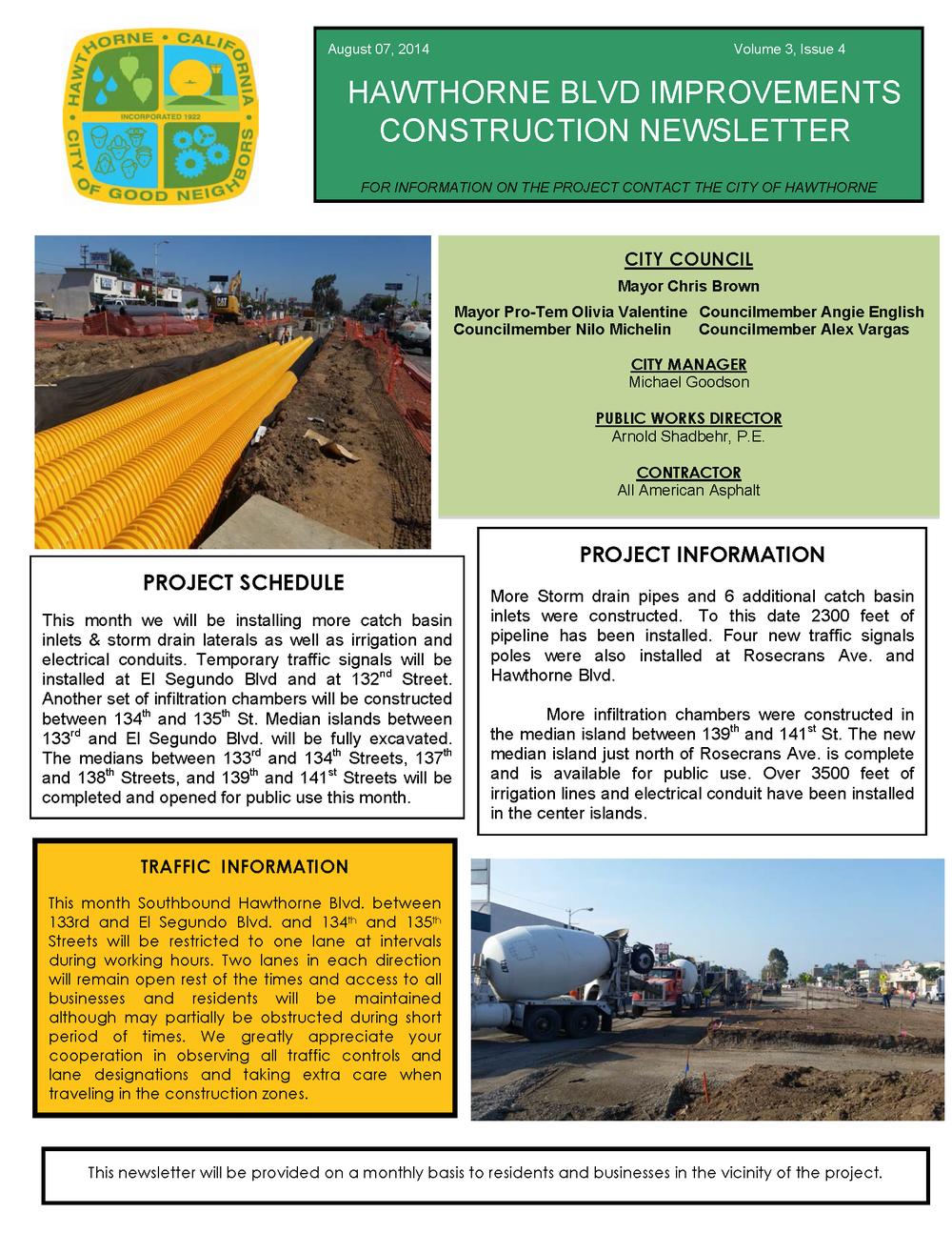 Hawthorne Blvd Improvements Newsletter Aug 2014