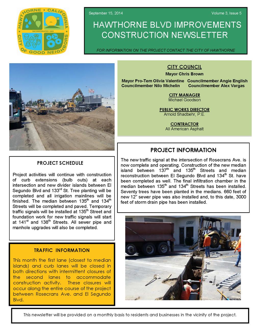 Hawthorne Blvd Improvements Newsletter Sept 2014