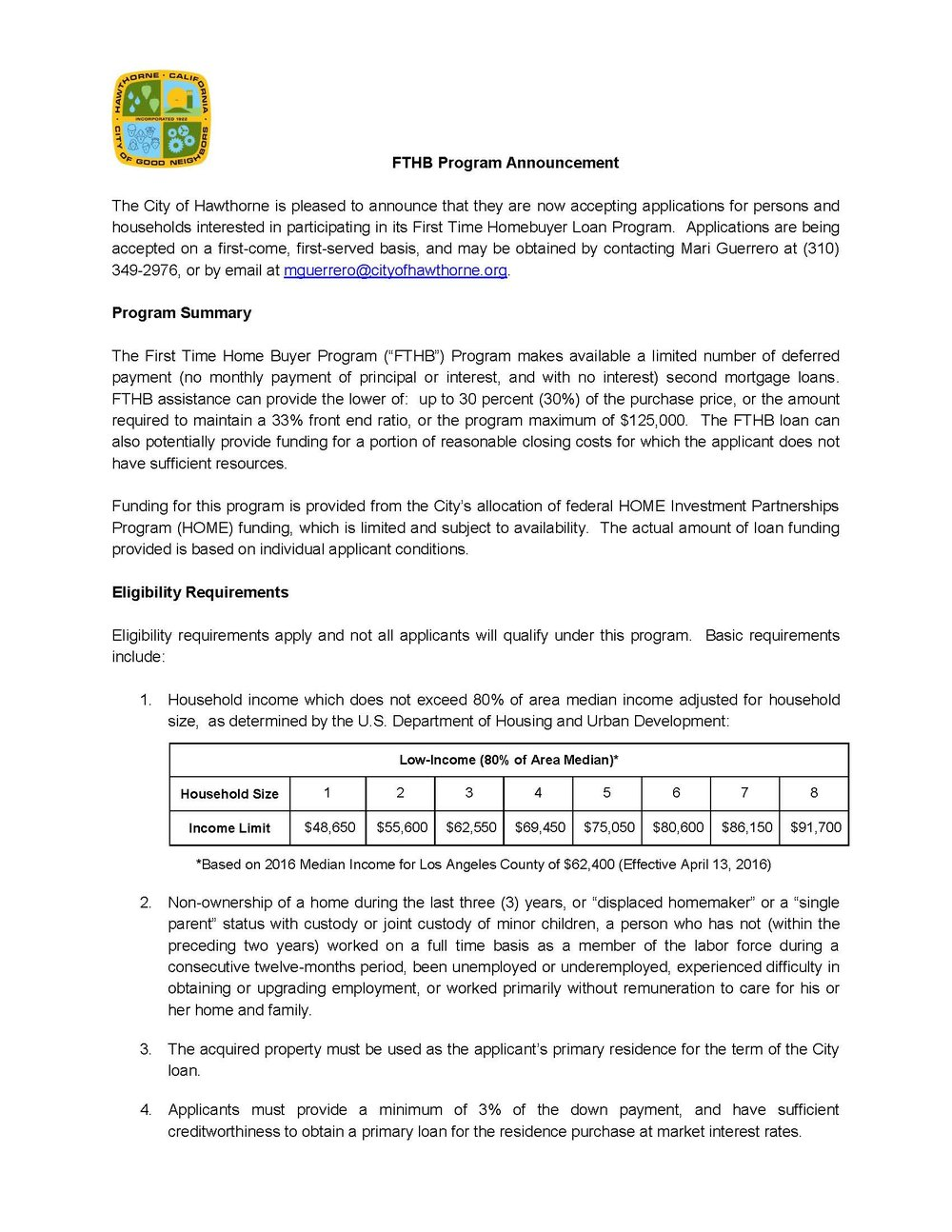First Time Home Buyer Program Announcement Page 1