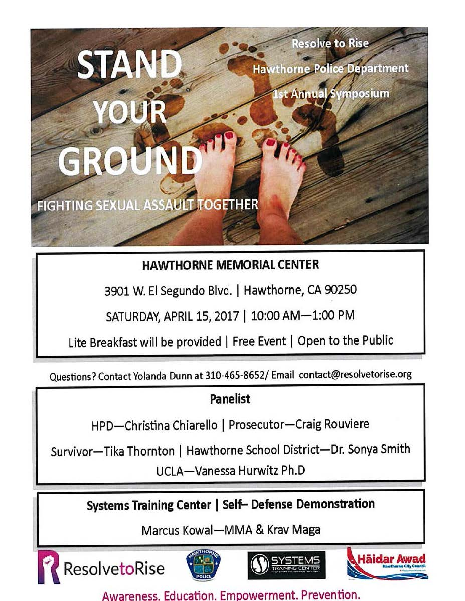 Stand Your Ground Fighting Sexual Assault Together - English flyer