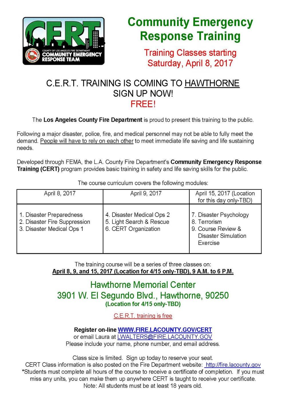 CERT Training Class