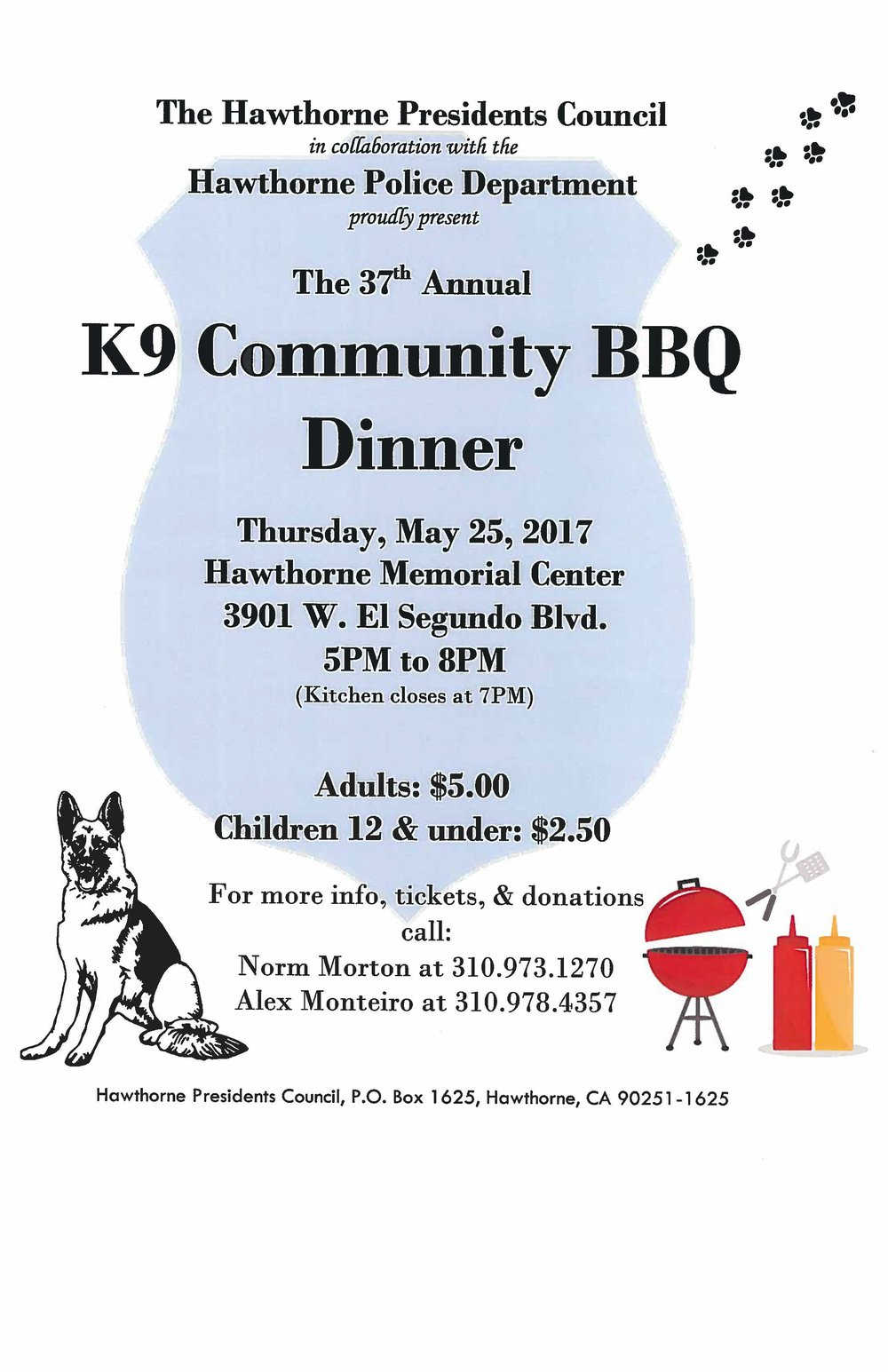 37th Annual K9 Community BBQ Dinner