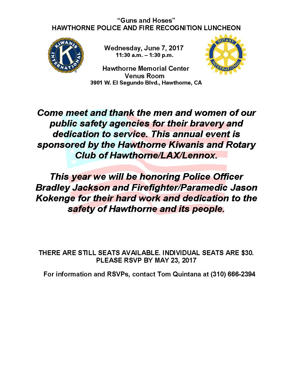 Guns & Hoses Hawthorne Police and Fire Recognition Luncheon