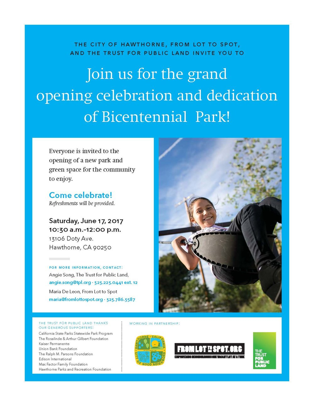 Bicentennial Park Dedication flyer