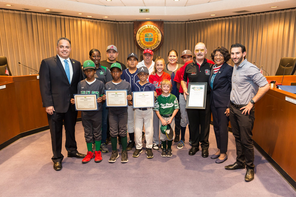 Jerry Flory, Mayor Vargas and Council members and Little League