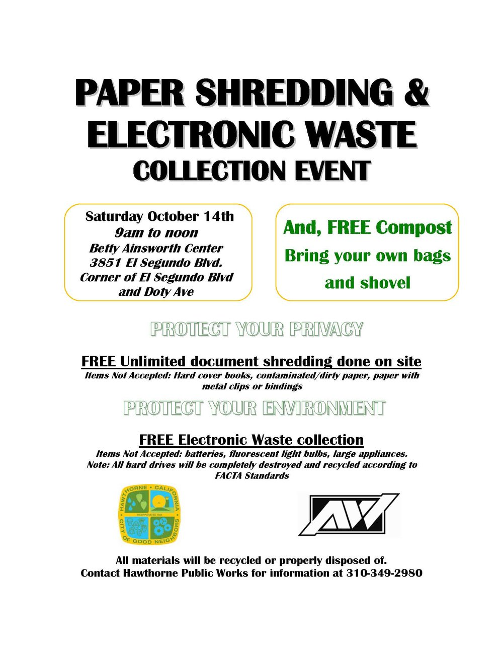 Paper Shred and EWaste Collection Event