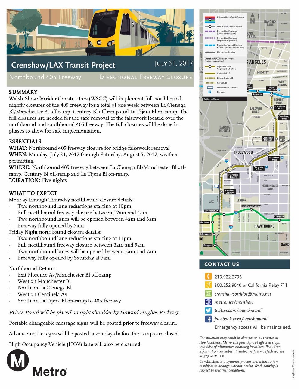 405 closure and lane restrictions