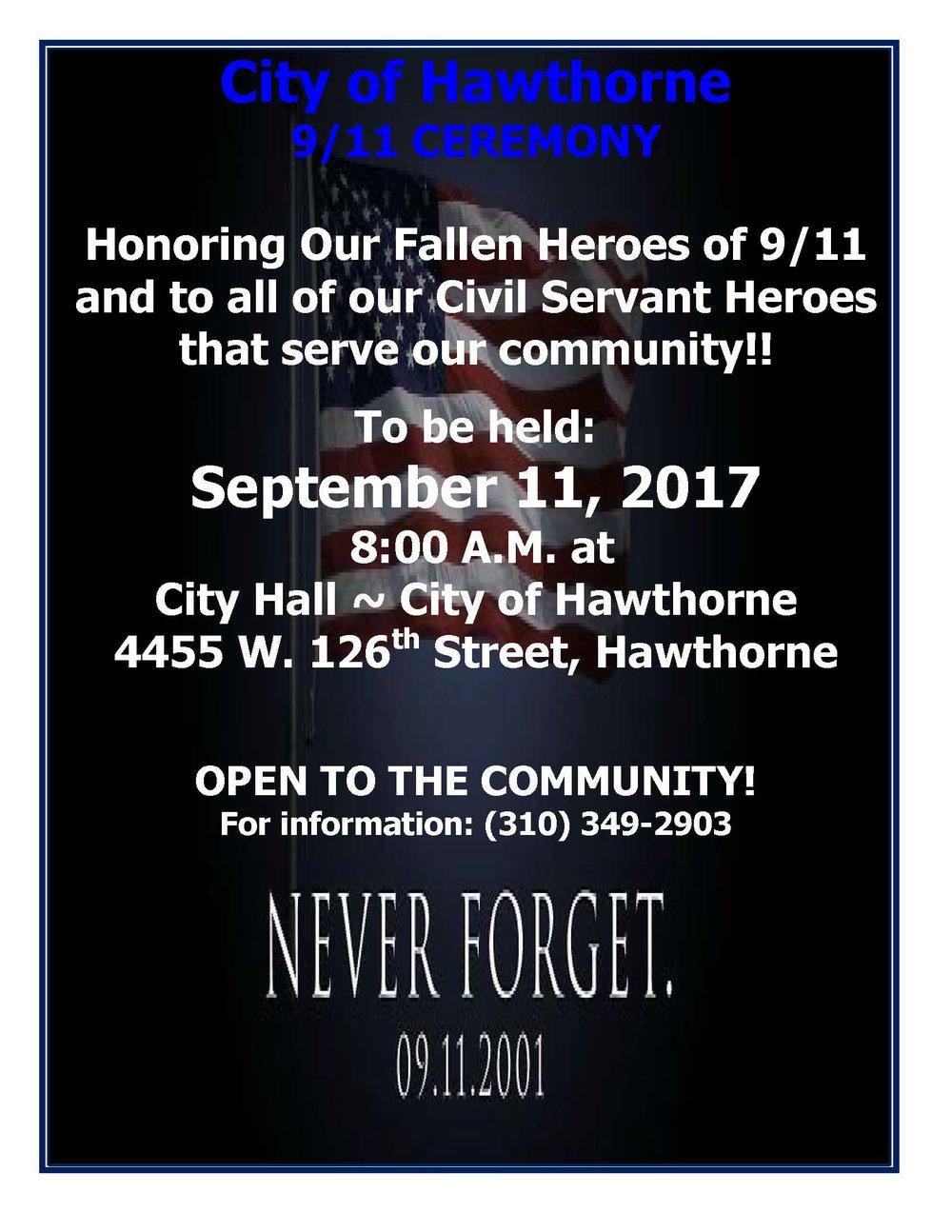 City of Hawthorne 9/11 Ceremony