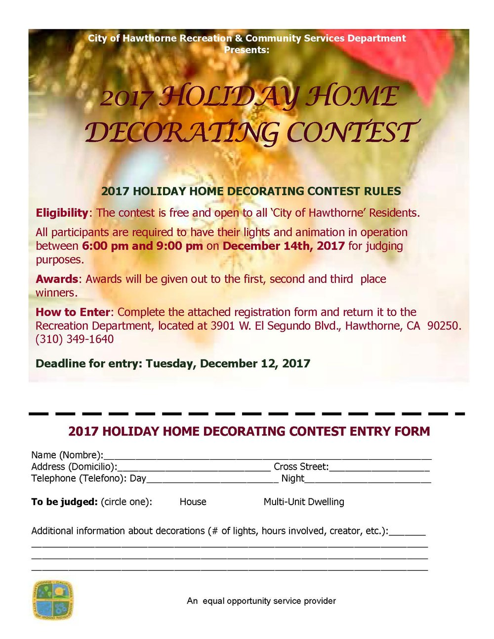 Holiday Home Decorating Contest