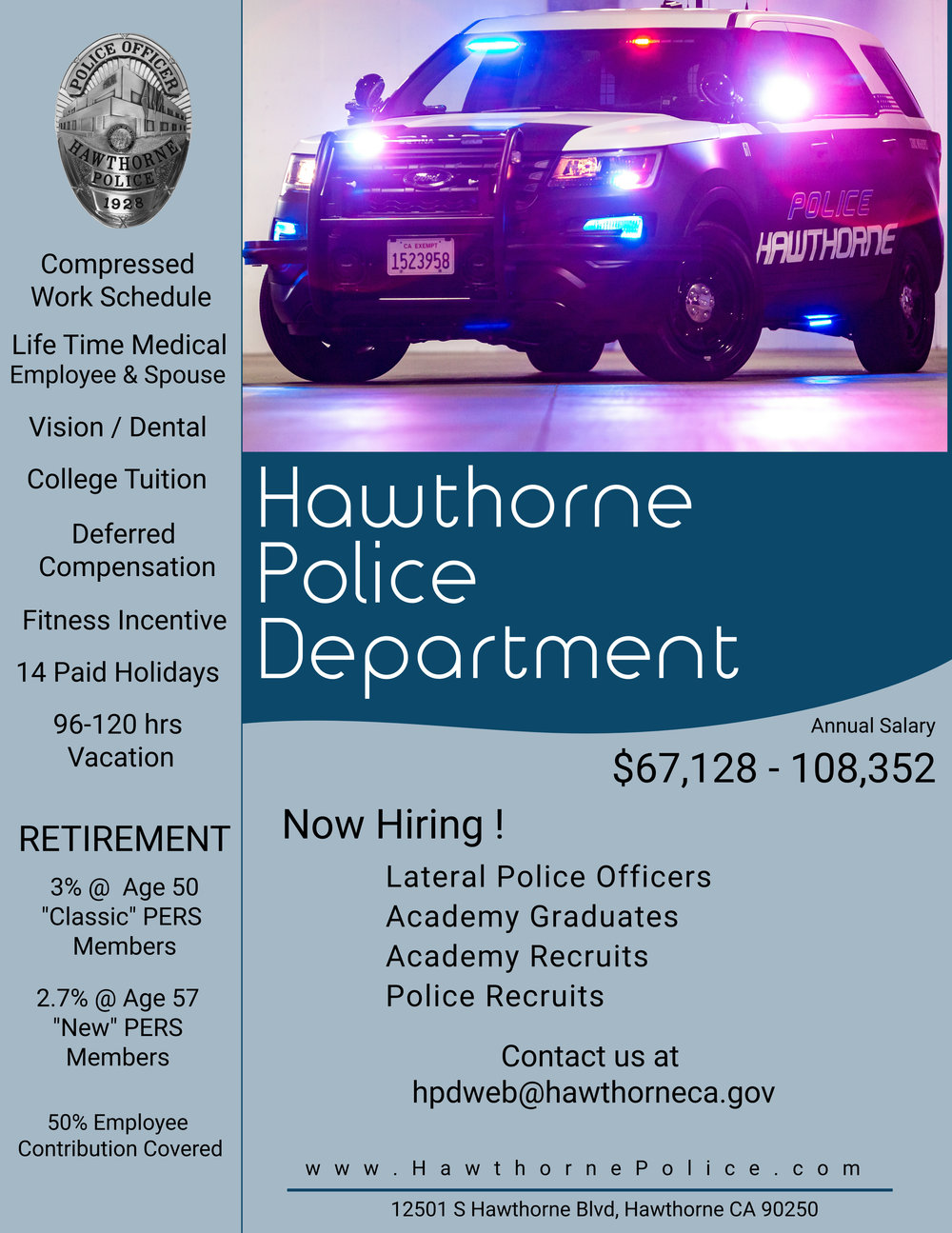 Hawthorne Police Department Now HIring