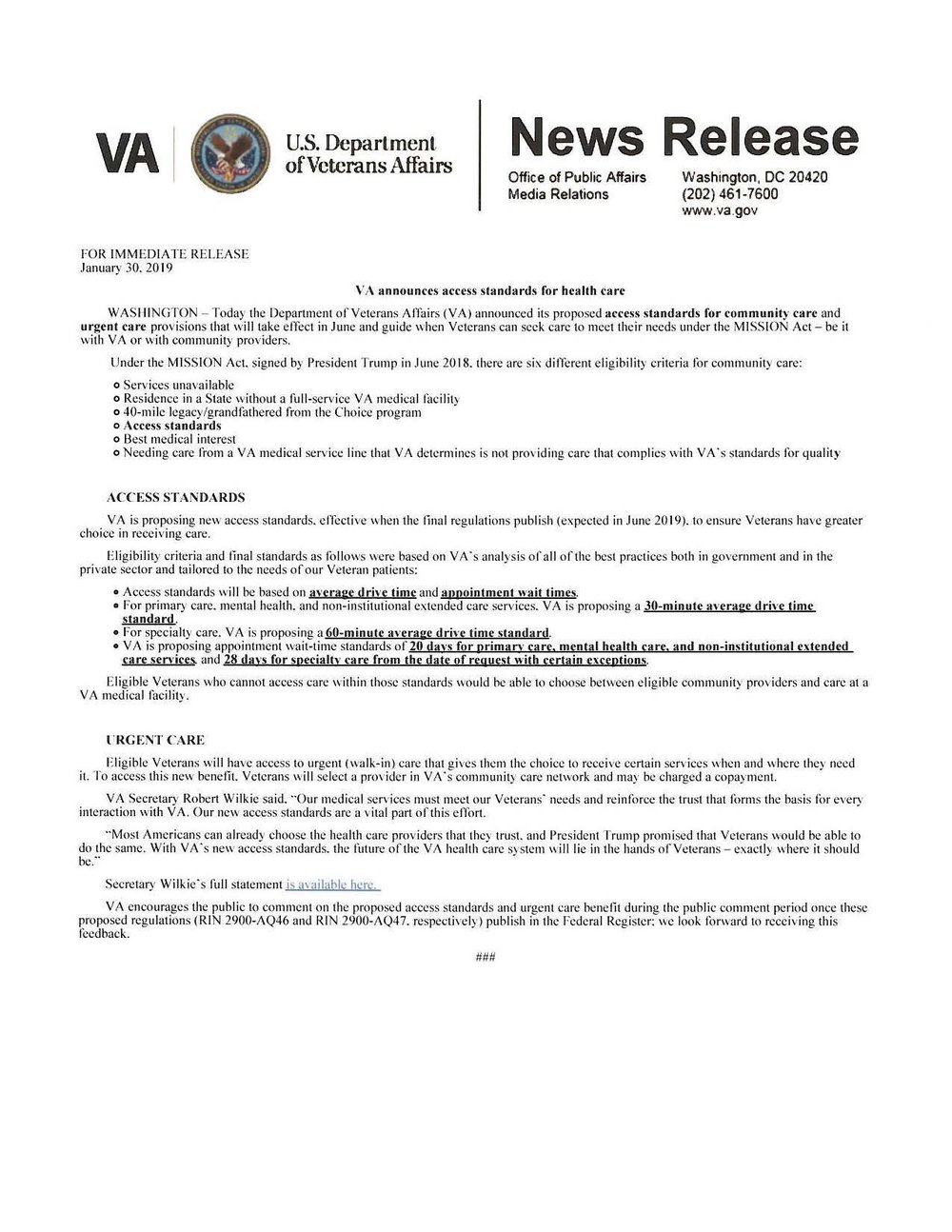 VA Announces access standards for health care