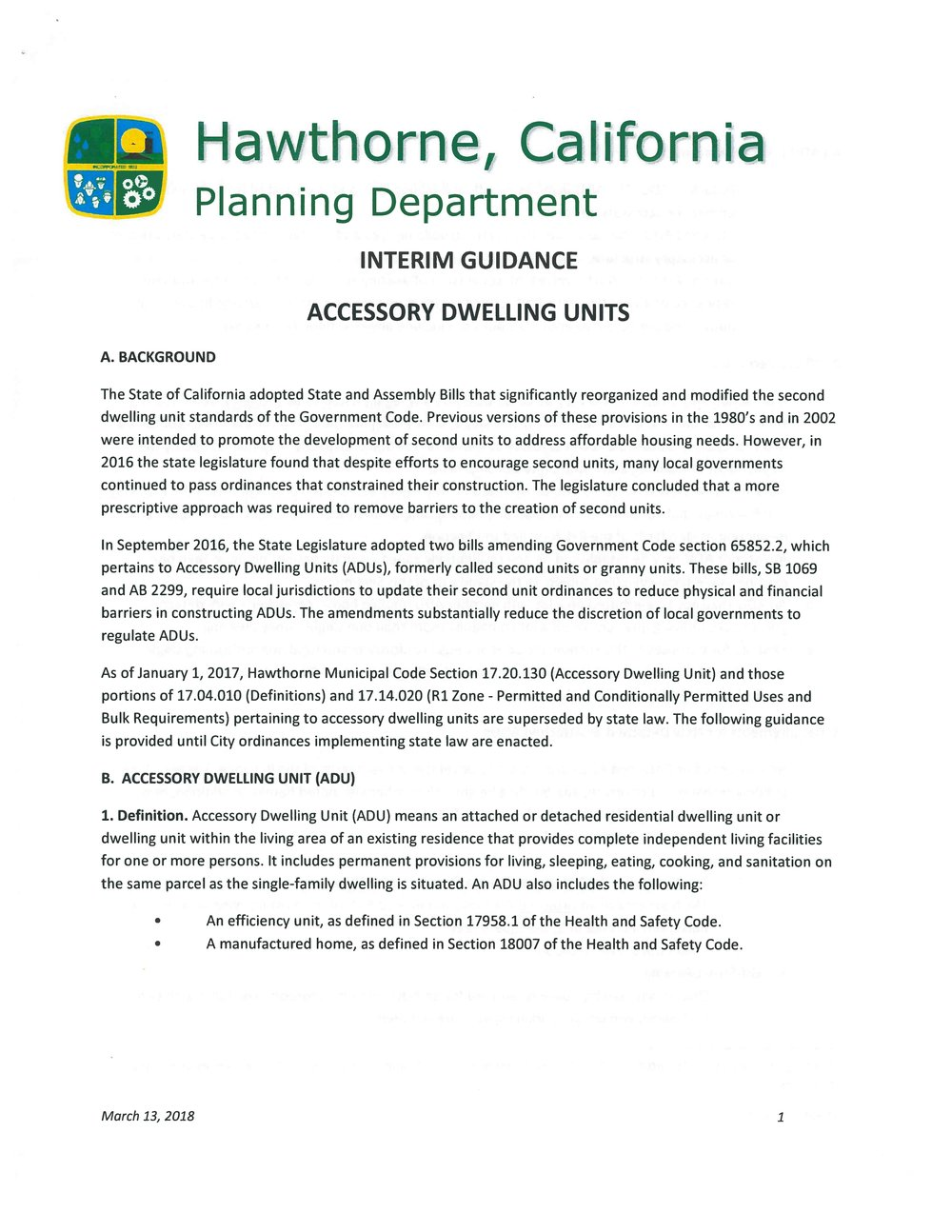 Click on the above Interim Guidance Acessory Dwelling Units page to view the complete document