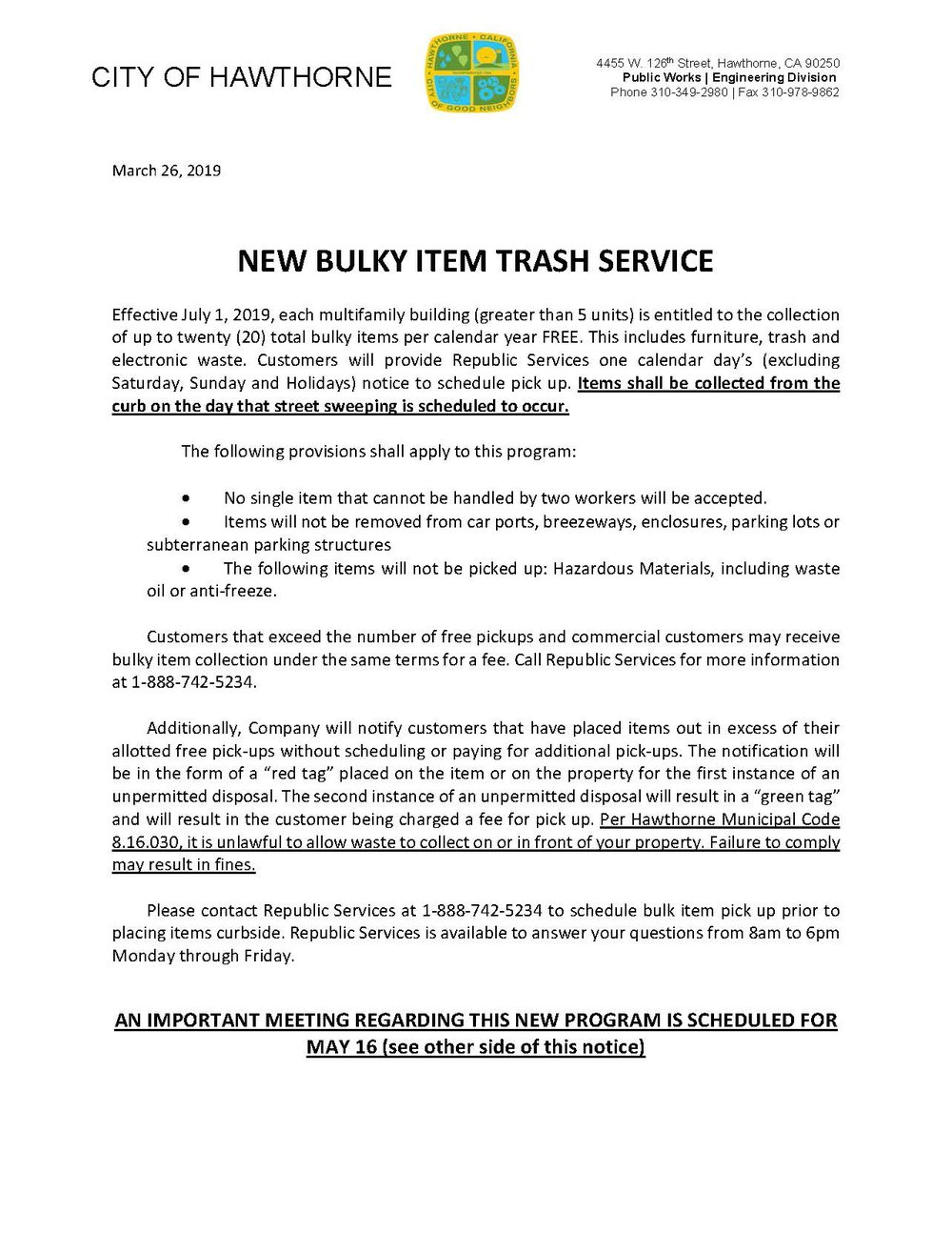 New Bulky Item Trash Service