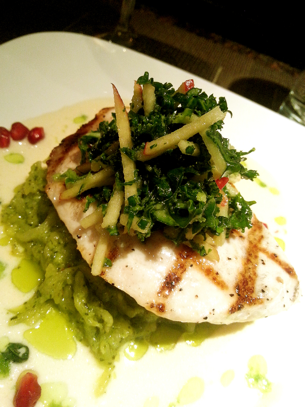 Grilled Swordfish with Kale and Apple Slaw