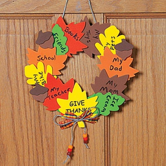 "Another twist on the ""what I am thankful for"" craft idea is this adorable wreath made out of fall-colored construction paper. Cut out various sizes of leaves from the construction paper and have each child write down what they are thankful for. You're sure to love each and every answer!"