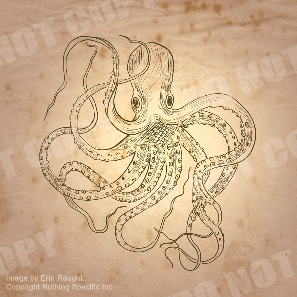 7415 - Vintage Ink Drawn Octopus - Sea Monster Tattoo.jpg