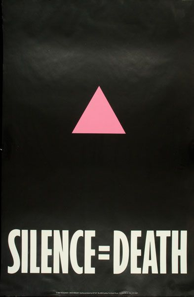 """Silence = Death"" AIDs poster, created by Avram Finklestein, Brian Howard, Oliver Johnston, Charles Kreloff, Chris Lione, and Jorge Soccaras, c/o ACT UP"