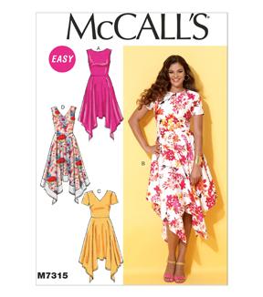 McCall Pattern M7315-A50 Misses' Handkerchief-Hem Dresses-6-8-10-12-14