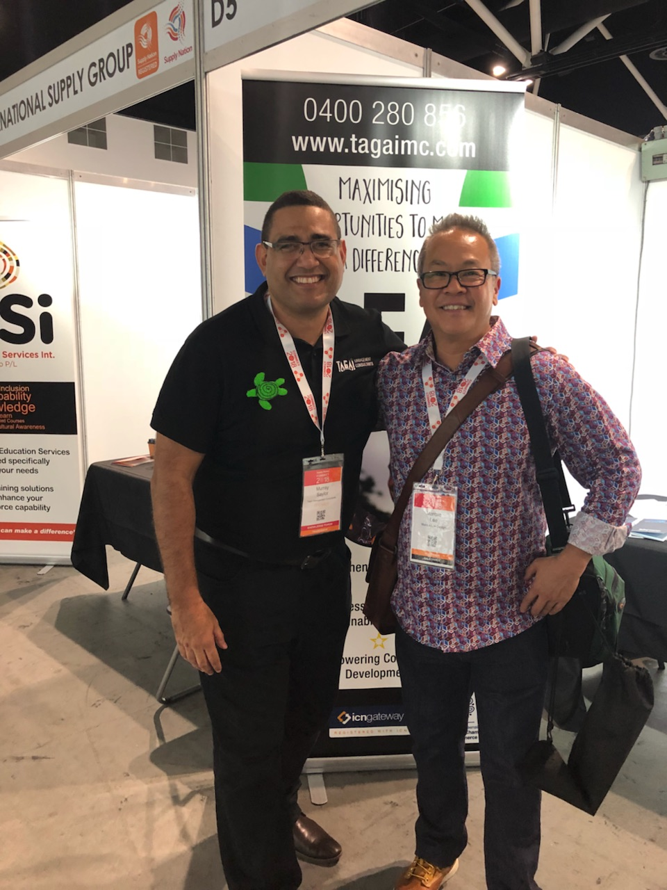 Our Managing Director Murray Saylor catching up with Marcus Lee of Marcus Lee Design who designed the new Supply Nation logo.