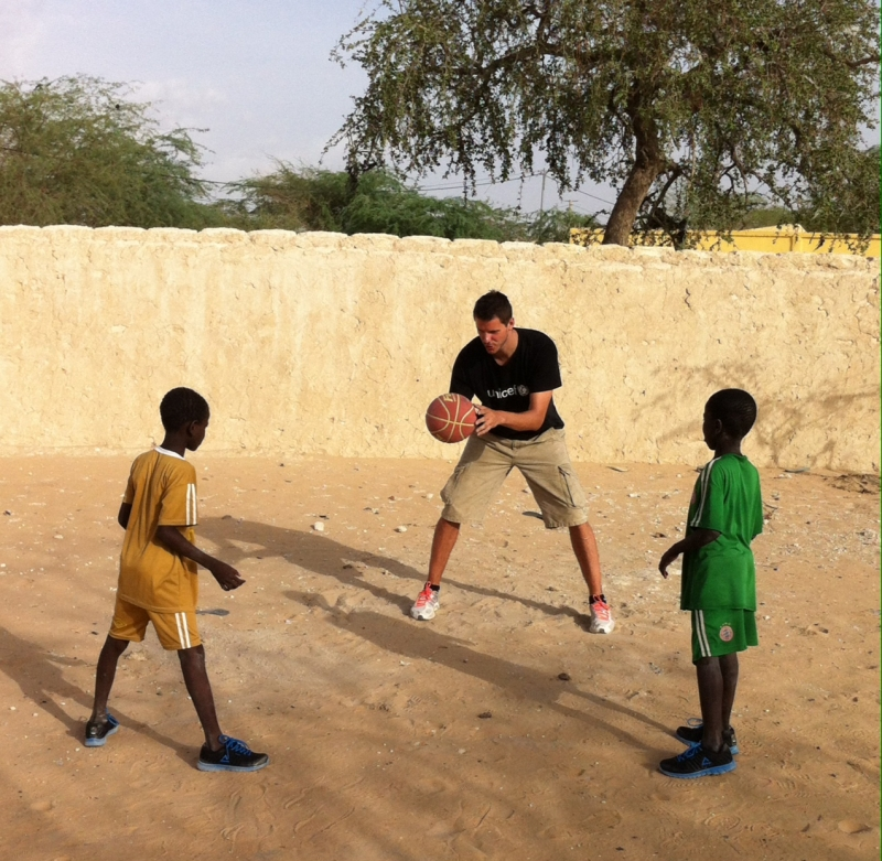 Boki showed some  of his basketball skills to local children.