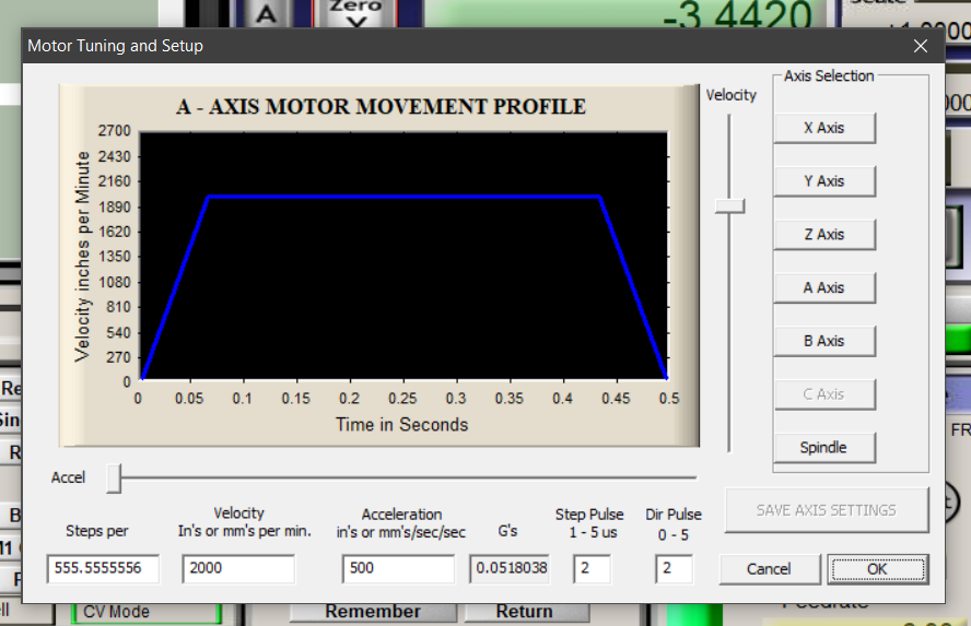 Enter the calculated Steps per, Velocity and Acceleration into the A axis settings in the Mach 3 motor tuning page. Do not forget to Save axis settings.