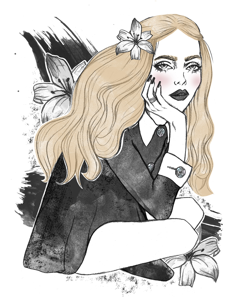 Graphite and digital colouring    Inspired by Cara in W Magazine