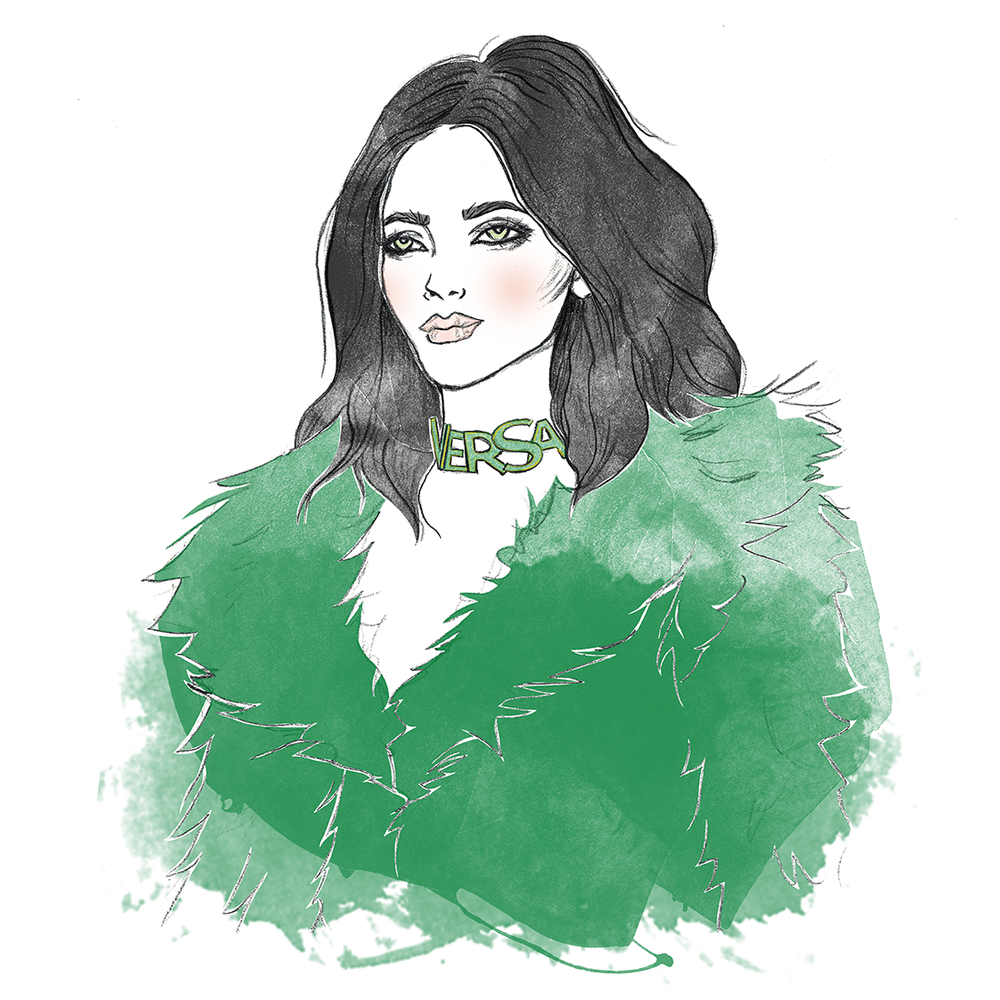 Graphite drawing, digital colouring    Love the colour, coat and necklace
