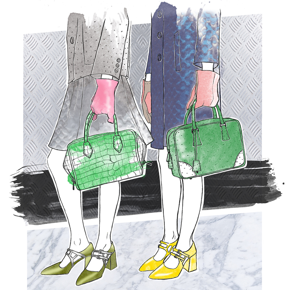 Graphite and digital colouring    Inspired by  Style.com  and the amazing Prada Fall 2015-show