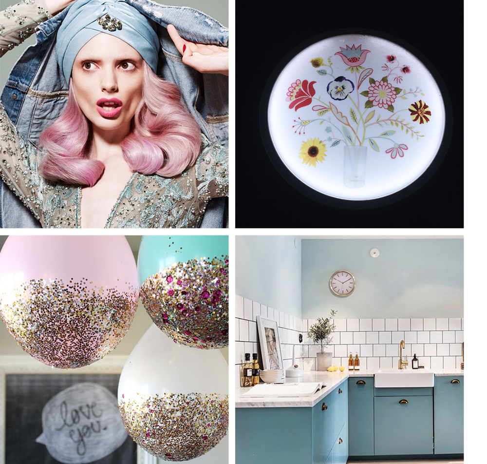1. Editorial in Citizen K Magazine 2. A lamp in a tunnel in Stockholm 3. Glitter balloons found somewhere on pintrest 4. Kitchen in an apartment add