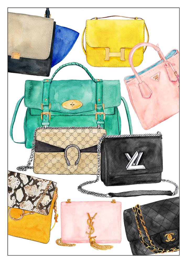 Céline Trapeze, Hermes Constance, Mulberry Alexa, Prada Saffiano, Gucci Dionysus, Louis Vuitton Twist, Chloé Faye, YSL Tassel Satchel, Chanel Classic Flap Bag