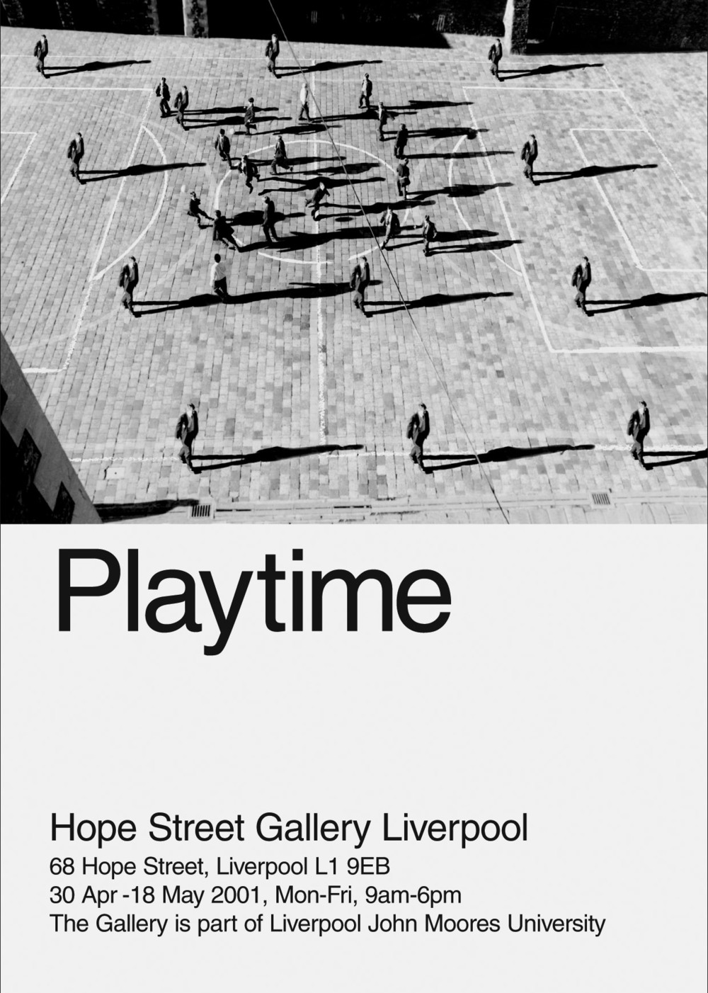 Playtime, 1998-2001  Exhibition of prints. A series of large printed images that equate the school playground with a petri dish; looking at the dynamics of 'culture' and how it replicates itself. Hope Street Gallery, Liverpool 2001. Funded by Arts Council of England. Supported by Liverpool John Moores University