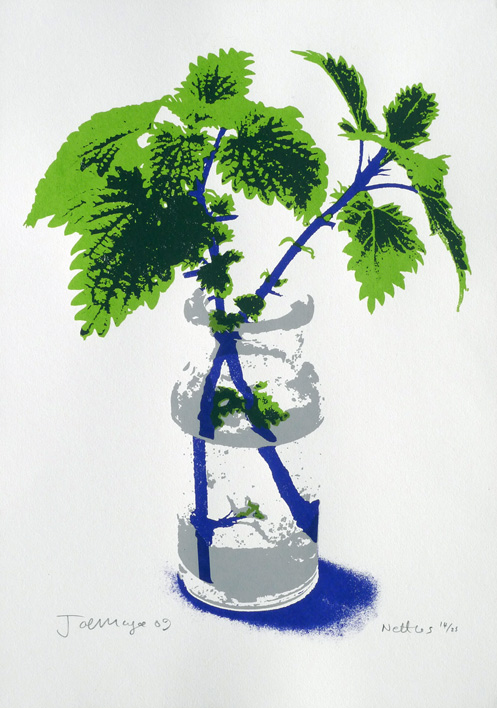 Nettles  Date printed 2009 Print type Silk Screen Print Number in edition 25 Colours: 2 Paper type Malago (by Arboreta). Off white. 320g/m2 Paper size SRA2 (640x450mm) Signed By artist in pencil Production information: Hand printed